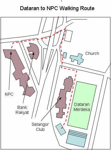 Dataran to NPC Walking Route